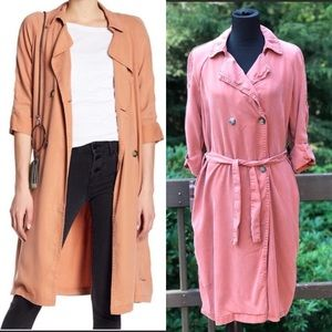 Max Jeans Trench Coat Pink Double Breasted Drapey